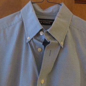 Roundtree&Yorke blue check buttondown shirt nwot